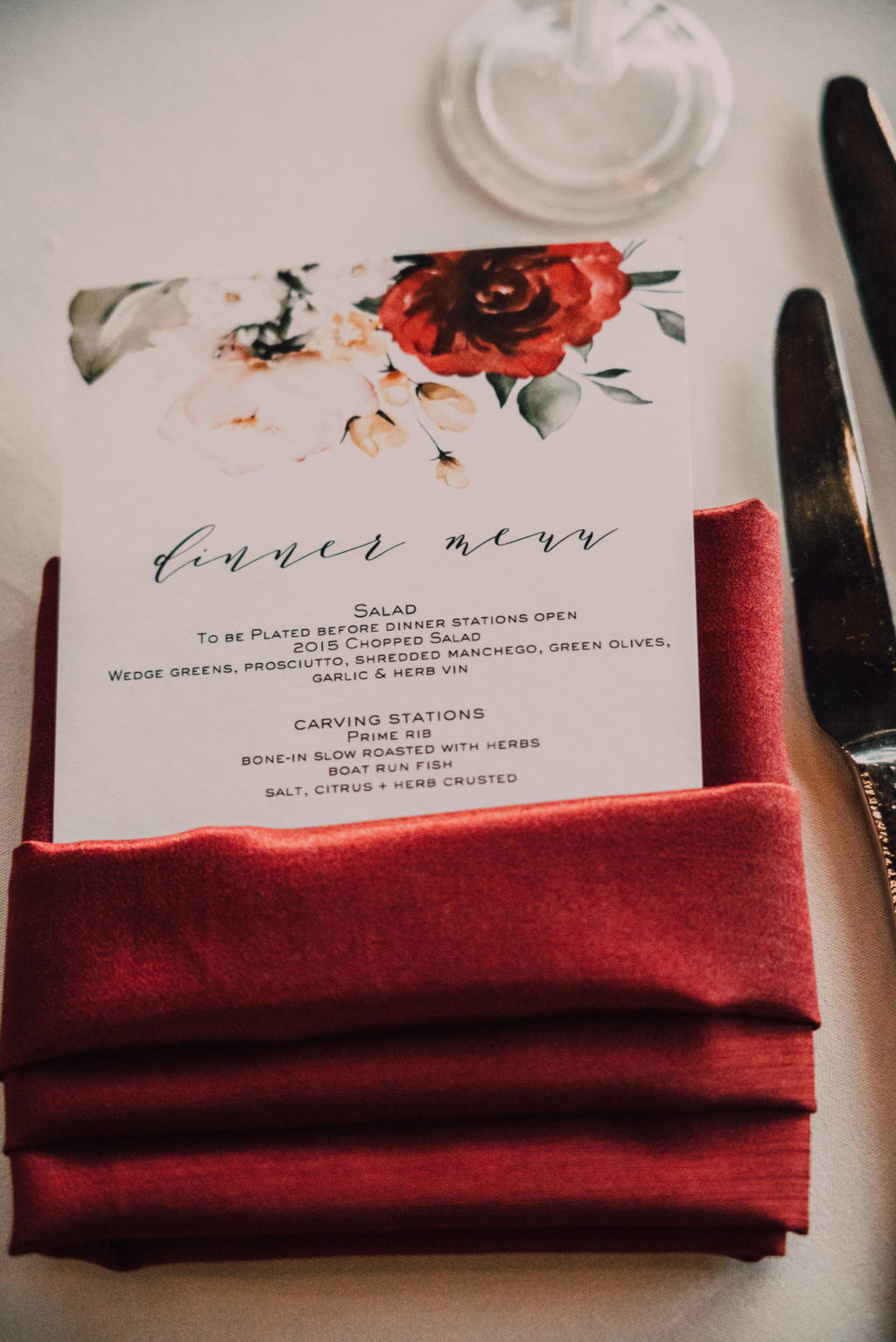 Tampa Wedding Reception Dinner Menu Card in Burgundy Napkins with Watercolor Floral Motif
