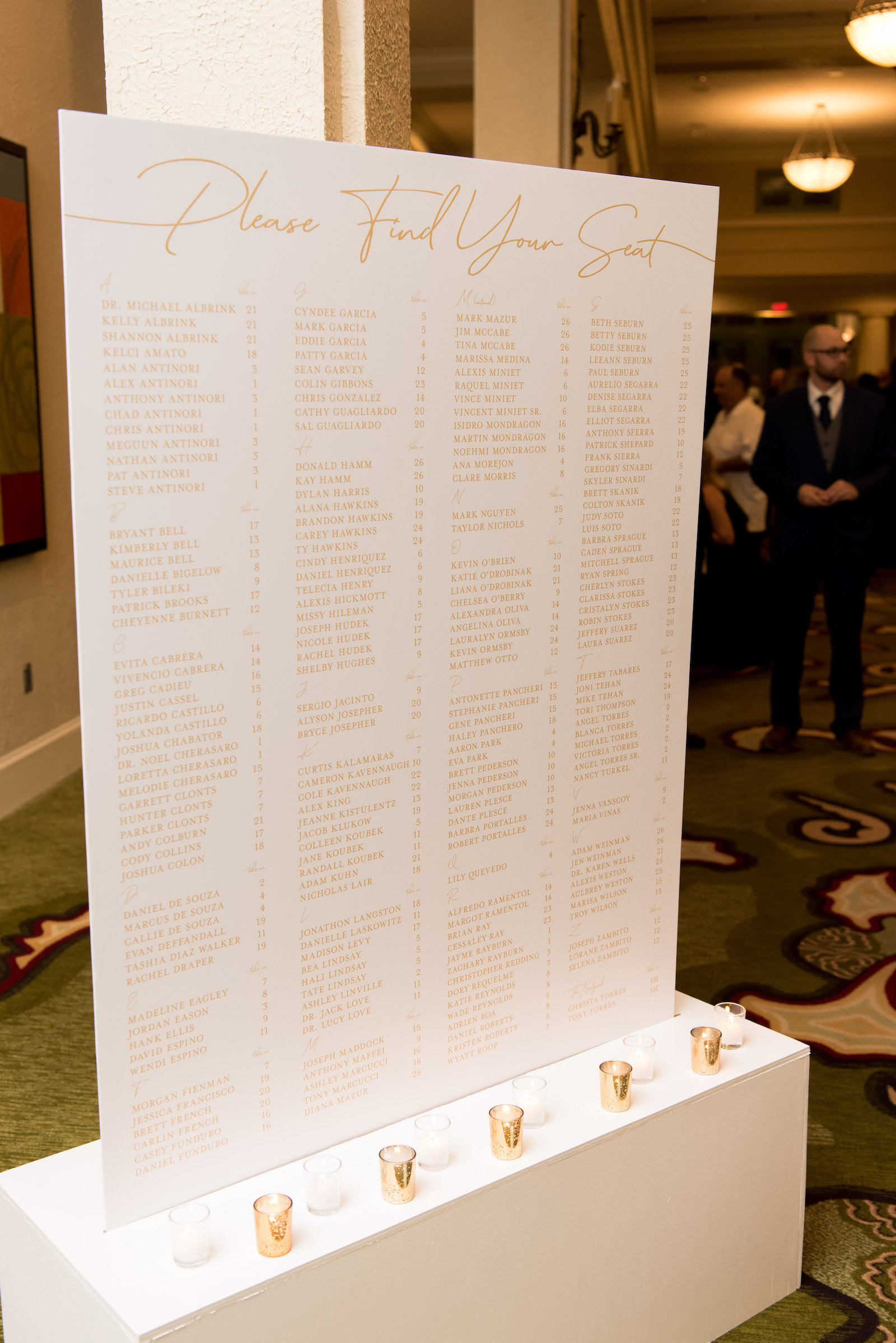 Modern White and Gold Wedding Seating Chart | Tampa Bay Wedding Planner Parties A'la Carte