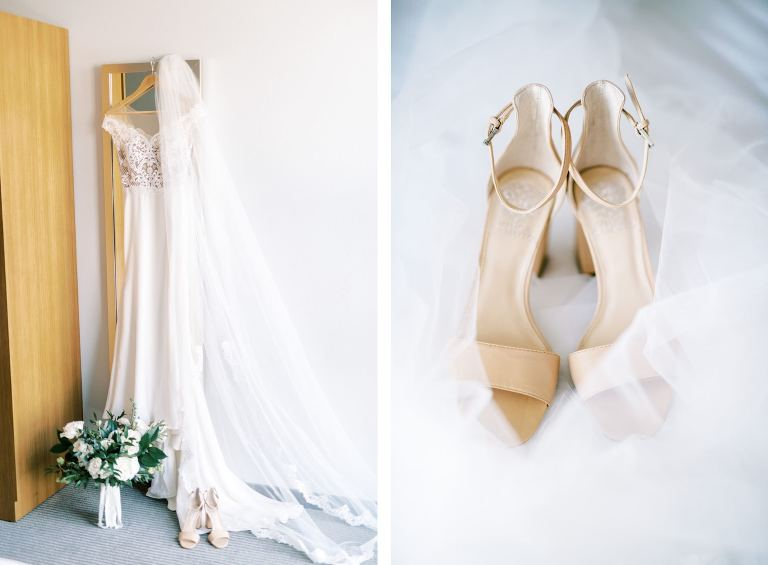 Wtoo by Watters Wedding Gown Portrait with Nude Open Toed Vince Camuto Shoes