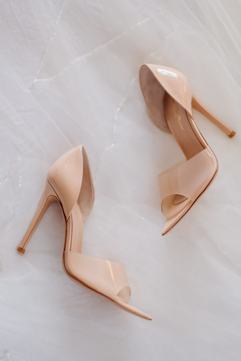 Gianvito Rossi Bree Pexi Peep-Toe d'Orsay Sandals Nude Wedding Heel Shoes