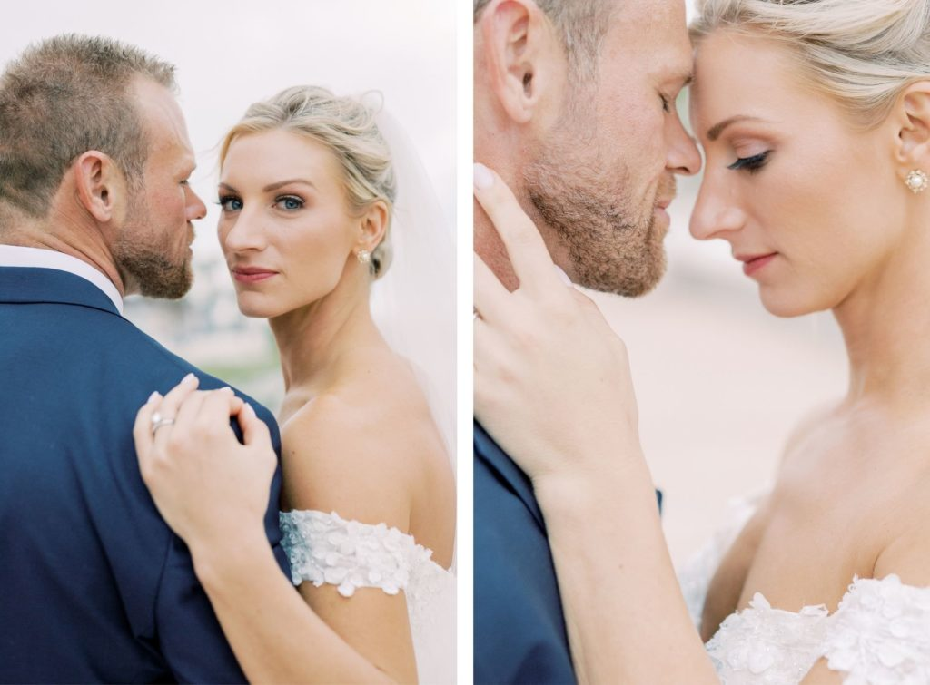 Timeless Portrait of Florida Bride Wearing Floral Lace Over Tulle Off the Shoulder Allure Couture Ballgown Wedding Dress, Groom in Blue Tuxedo and Ivory Bowtie | Tampa Bay Wedding Hair and Makeup Artist Femme Akoi Beauty Studio