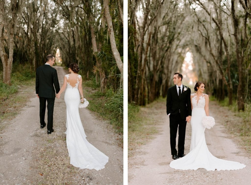 Outdoor Bride and Groom Portrait | Groom Wearing Classic Black Suit Tux | White Peony Bridal Bouquet | Sheath Illusion Lace Bridal Gown wedding Dress