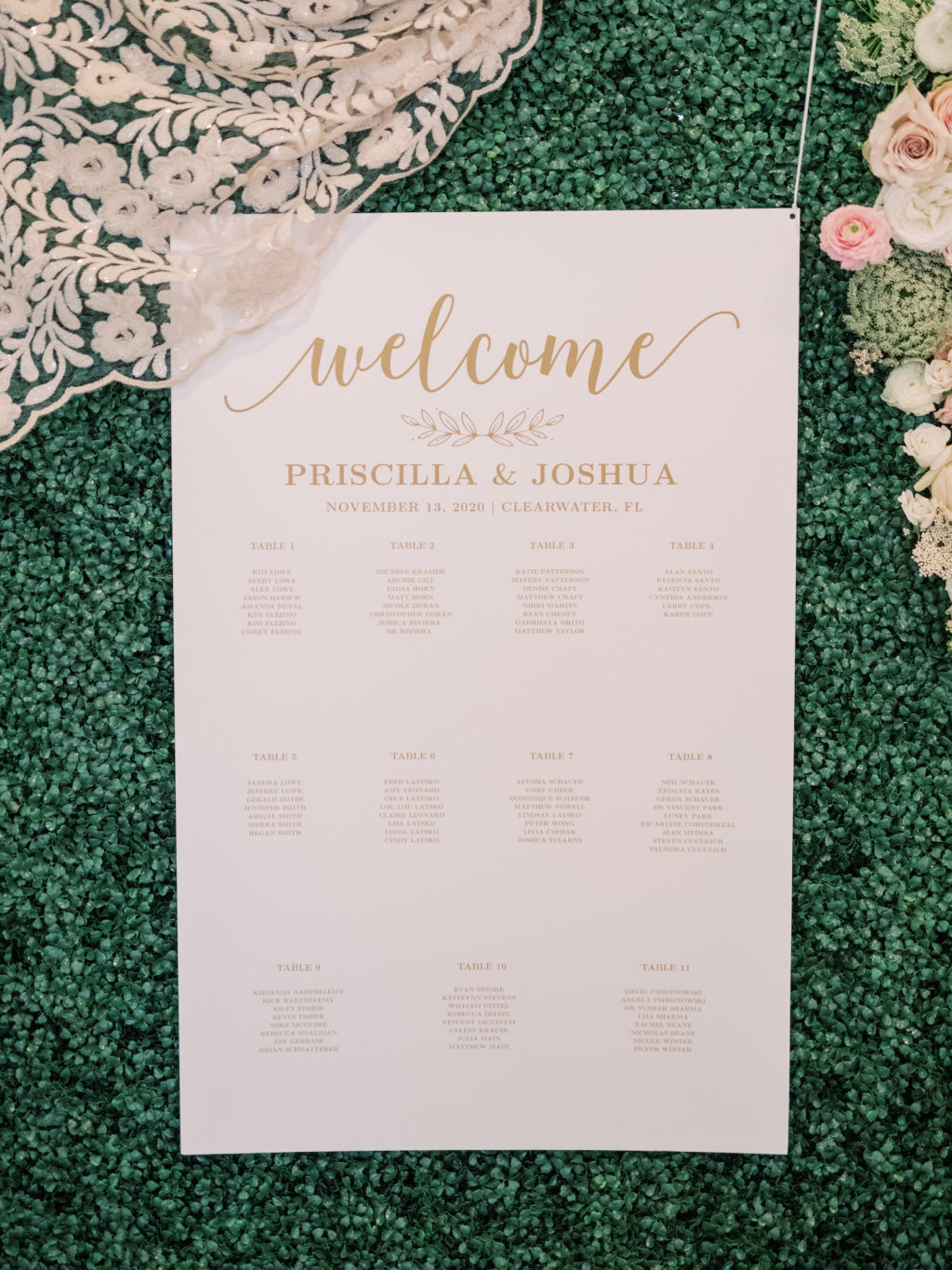 Timeless Romantic Wedding Reception Decor, Gold and White Traditional Seating Chart | Tampa Bay Wedding Planner Special Moments Event Planning