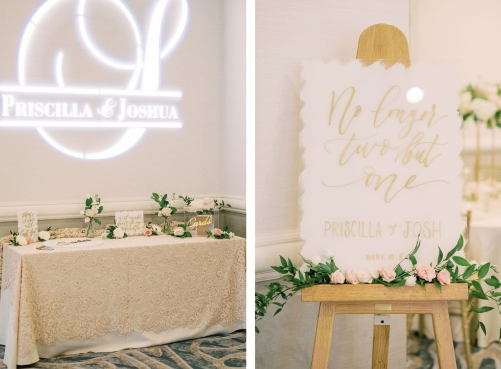 Romantic Timeless Wedding Reception Decor, Table with Ivory Lace Linen, Bride and Groom Gobo Projection, Modern Acrylic White and Gold Script Welcome Sign with Greenery and Blush Pink, Ivory Roses | Tampa Bay Wedding Planner Special Moments Event Planning | Wedding Rentals Kate Ryan Event Rentals