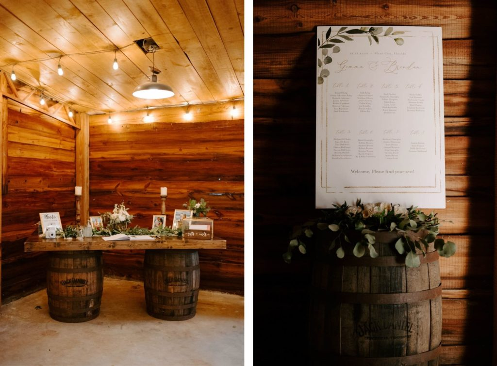 Rustic Plant City Wedding Guestbook Table with Wood Barrels and Greenery Garland | Greenery Motif Wedding Seating Chart Poster on Wood Barrel with Eucalyptus Greenery