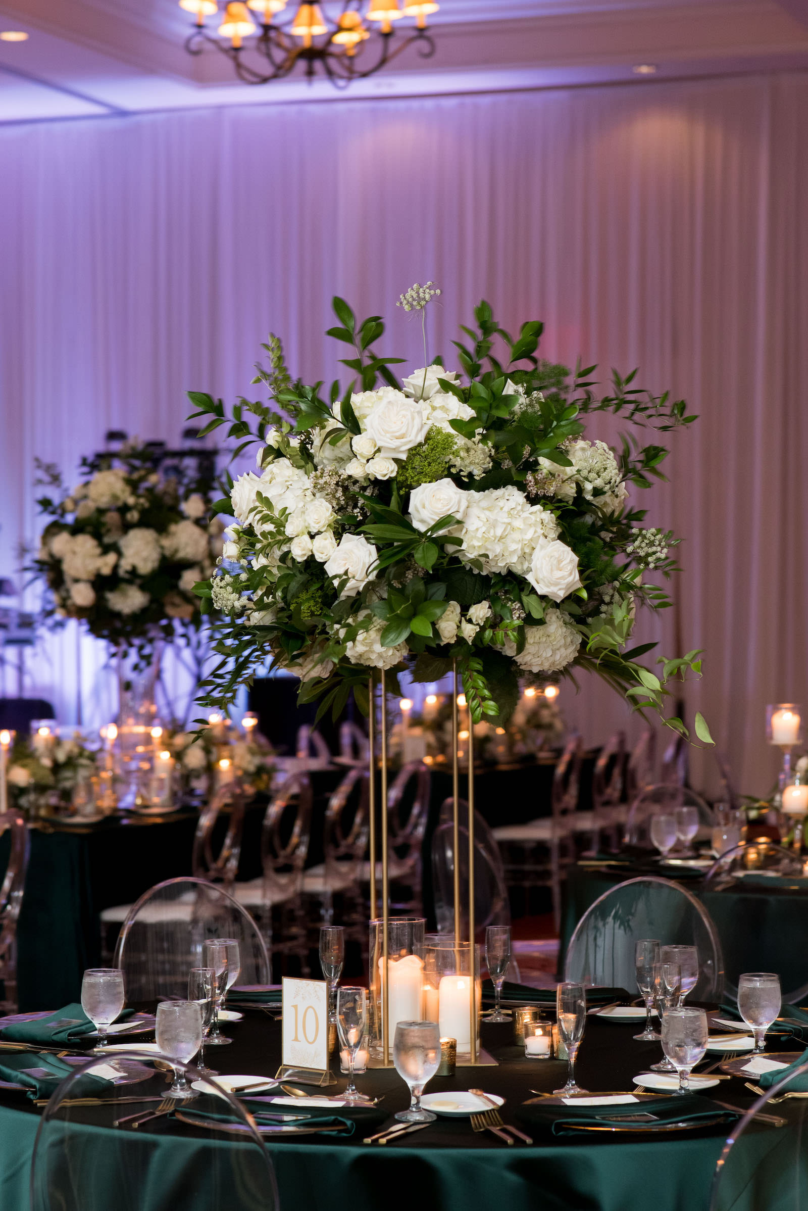 Elegant Wedding Reception Decor, Emerald Green Linens, Tall Gold Stand with White Roses, Hydrangeas and Greenery Floral Centerpiece | Tampa Bay Wedding Planner Parties A'la Carte | St. Wedding Venue The Vinoy | Wedding Rentals A Chair Affair