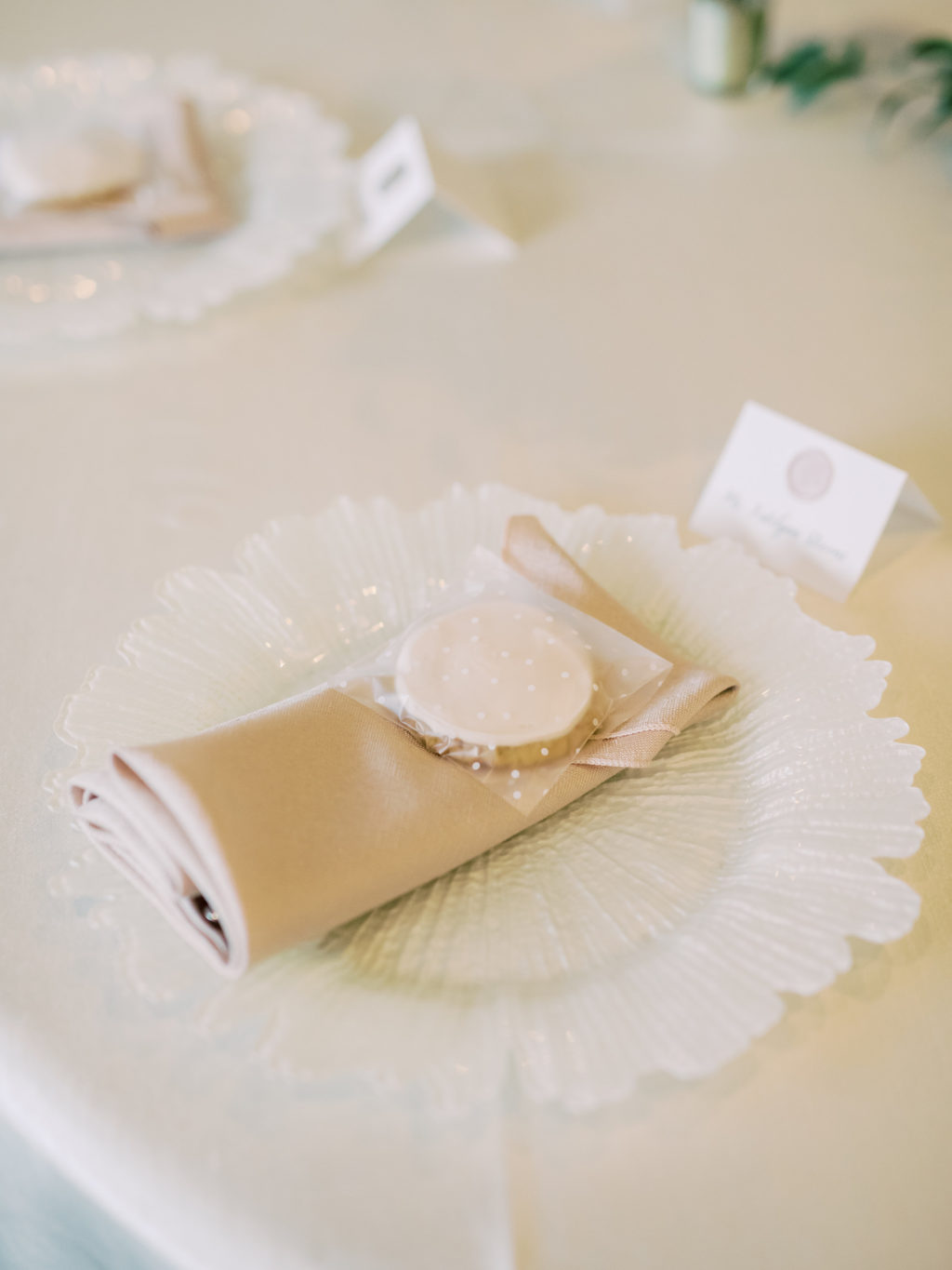 Timeless Romantic Wedding Reception Decor, White Decorative Plate, Cooke Wedding Favor | Tampa Bay Wedding Planner Special Moments Event Planning | Wedding Rentals Kate Ryan Event Rentals