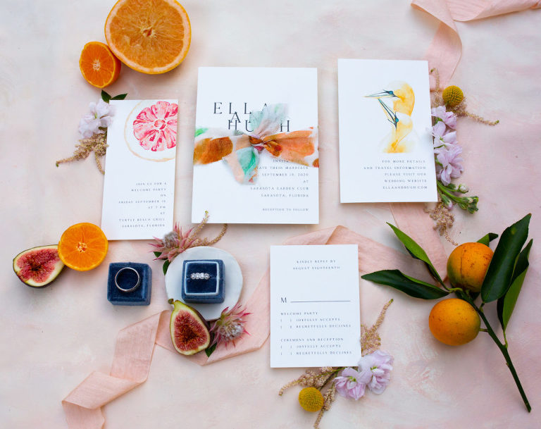 Citrus Inspired Florida Wedding Invitation and Stationery Suite, Bright Contrast with Orange, Pink and Dark Blue