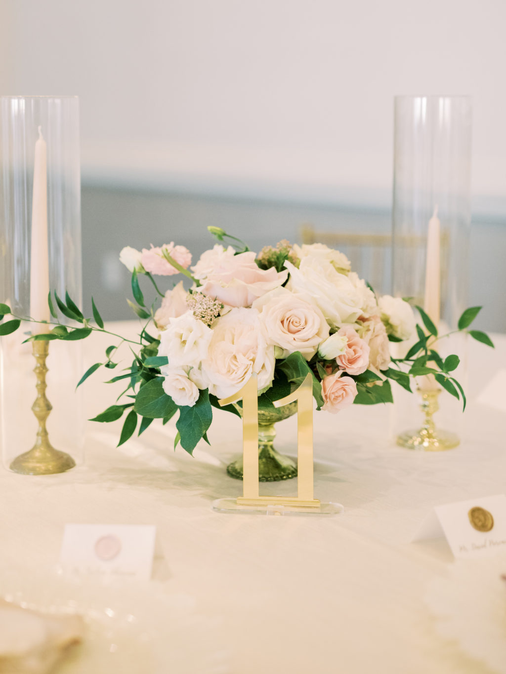 Timeless Romantic Wedding Reception Decor, Low Floral Centerpiece with Blush Pink and Ivory Roses, Greenery, Gold Candlesticks and Acrylic Table Number | Tampa Bay Wedding Planner Special Moments Event Planning | Wedding Rentals Kate Ryan Event Rentals