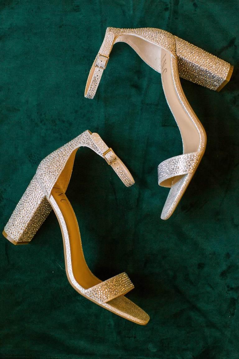 Champagne Gold Rhinestone Block Heel Wedding Shoes