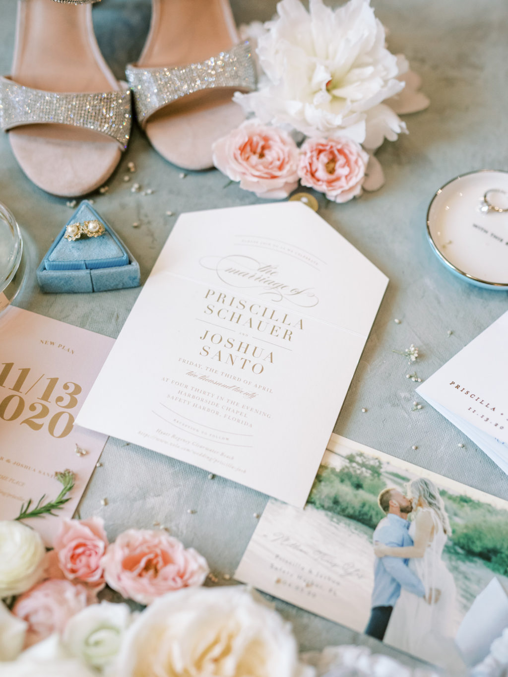 Romantic Timeless Wedding Invitation Suite, Blush Pink and Gold, Ivory Roses, Peep Toe Rhinestone Wedding Shoes, Bridal Accessories