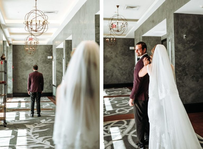 Florida Groom in Burgundy Tuxedo First Look with Timeless Bride