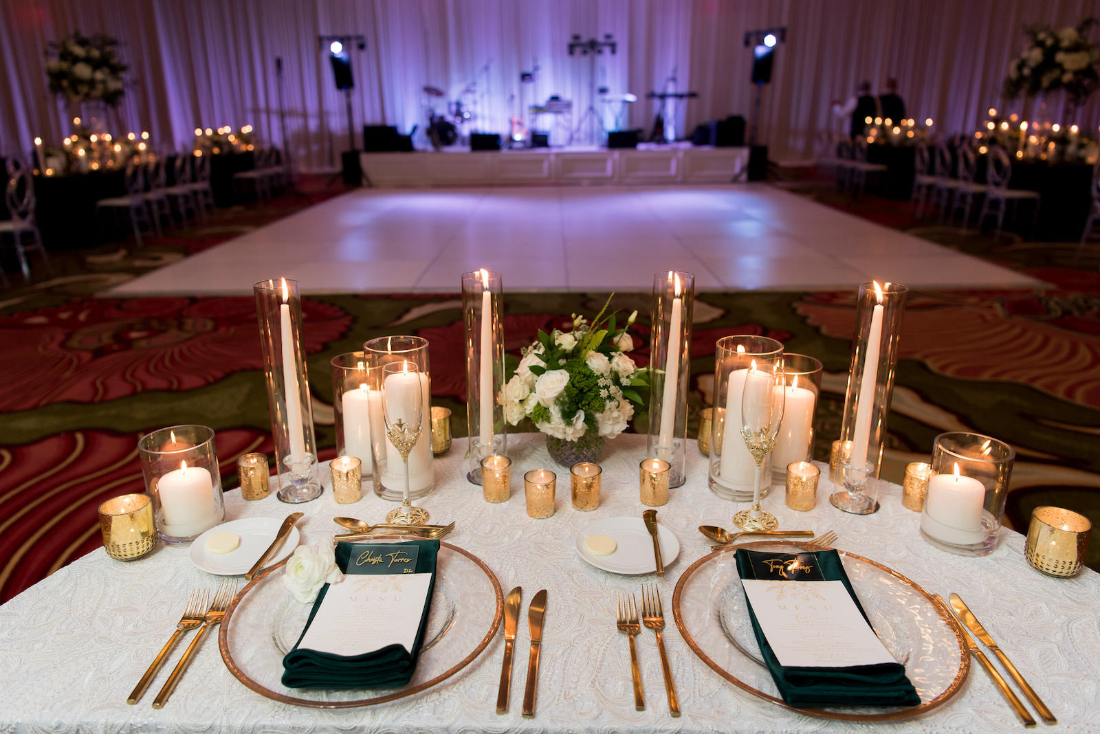 Elegant Wedding Reception Decor, Sweetheart Table with Ivory Lace Linen, Gold Rimmed Chargers and Flatware, White Candles | Tampa Bay Wedding Planner Parties A'la Carte | St. Pete Wedding Venue The Vinoy | Wedding Rentals A Chair Affair | Wedding Florist Bruce Wayne Florals