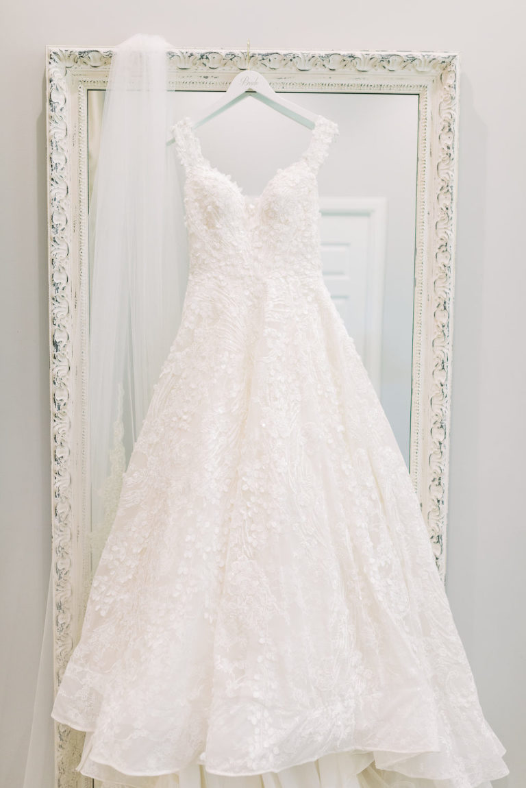 Romantic Floral Lace Over Tulle Ballgown Allure Couture Bridals Wedding Dress with Off the Shoulder Straps