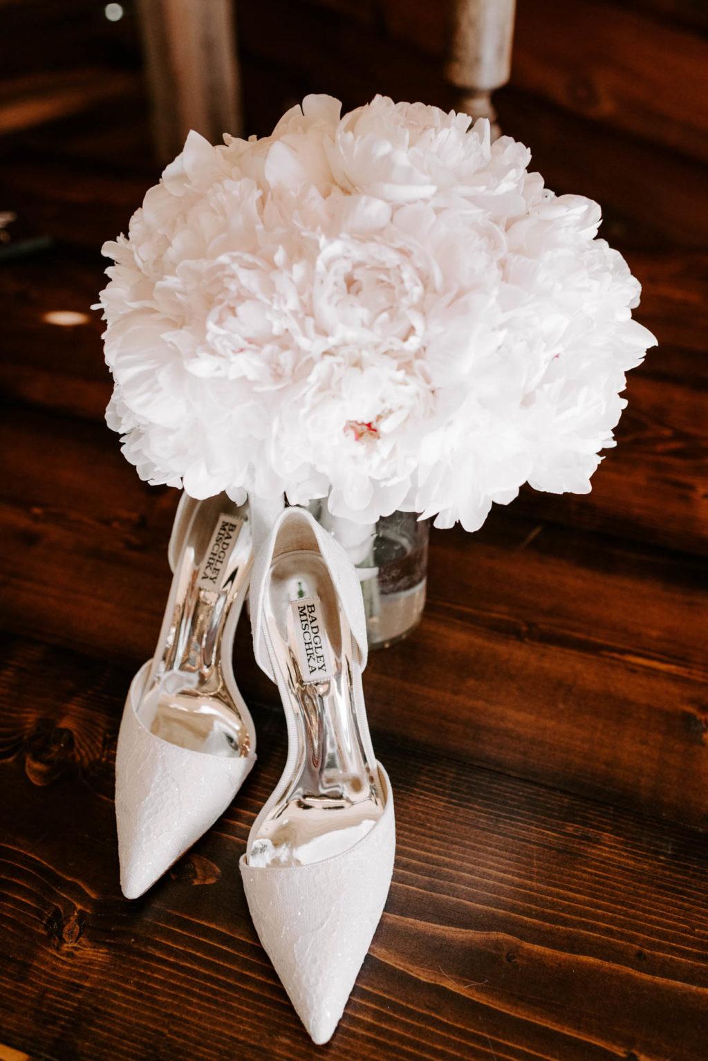 White Peony Bridal Wedding Bouquet with Badgley Mischka Designer White Lace Pumps Bride Shoes