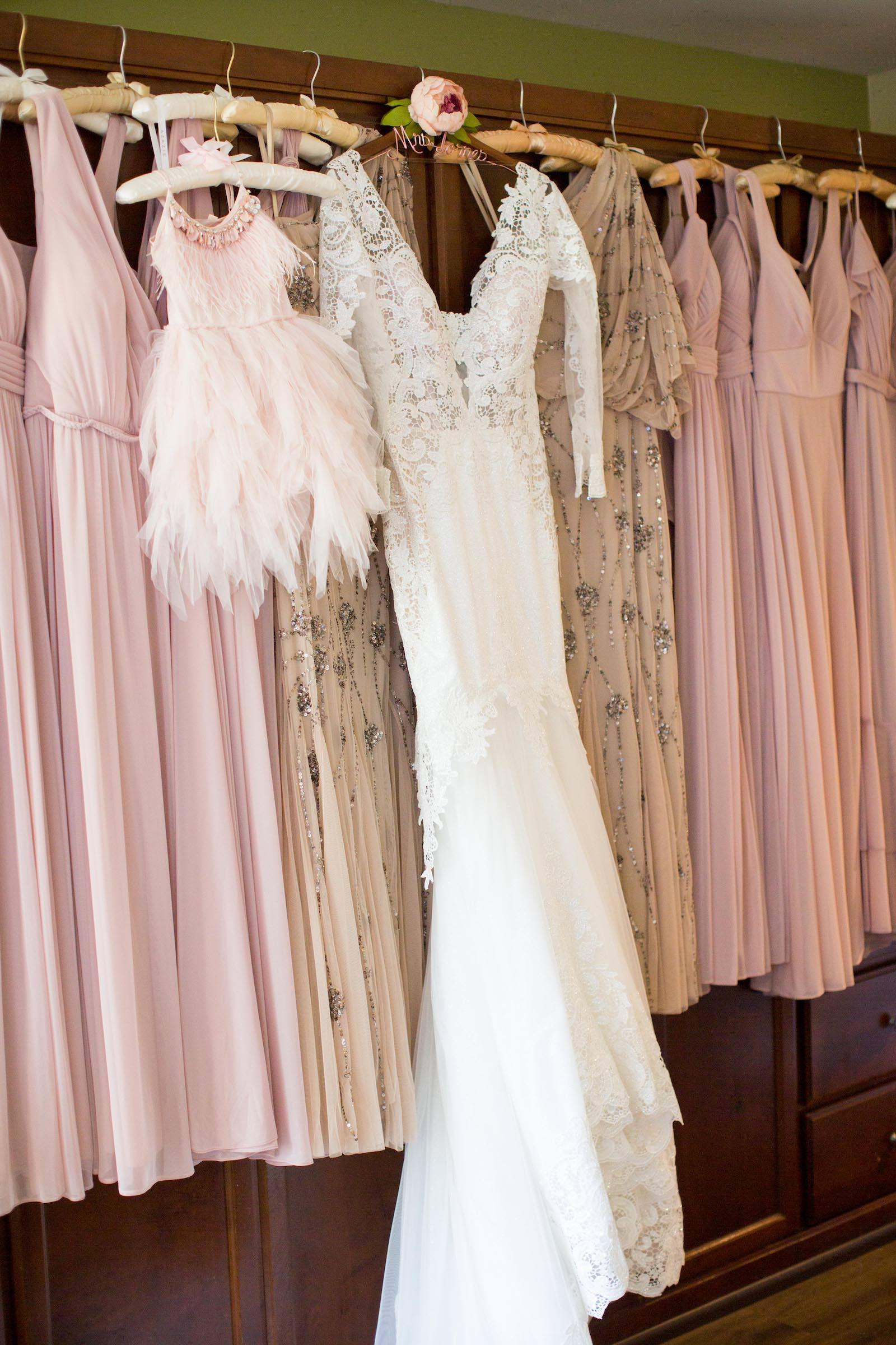 Lace Bodice Long Sleeve V Neckline Wedding Dress, Blush Pink Flower Girl Dress, Bridesmaids Dresses Hanging