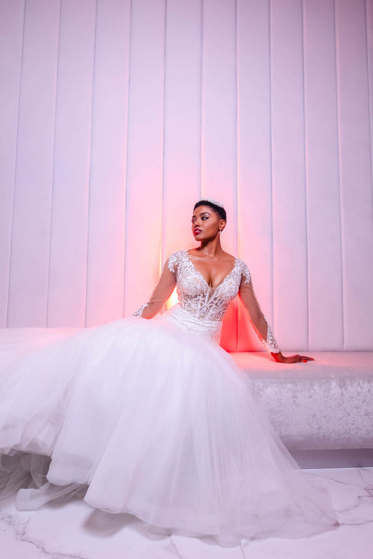 Bride Getting Ready Wedding Portrait in Lace Long Sleeve Wedding Dress with Tulle Skirt with Tiara