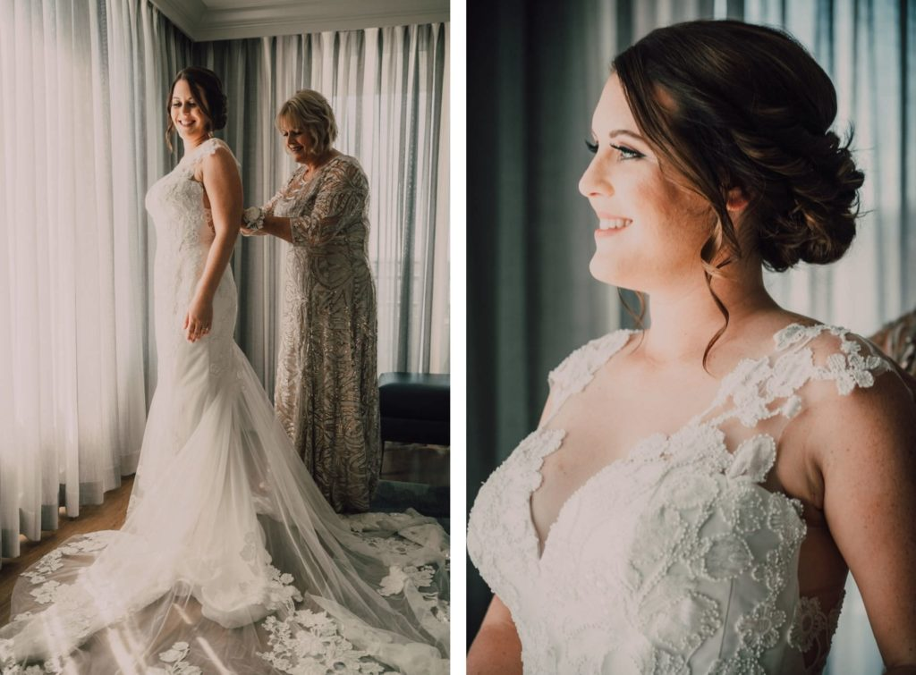 Mom Helping Bride Get Dressed and Ready | Lace Sheath V Neck Illusion Sleeve Bridal Gown Wedding Dress | Champagne Embroidered Mother of the Bride Dress | Femme Akoi Beauty Studio | Bonnie Newman Creative