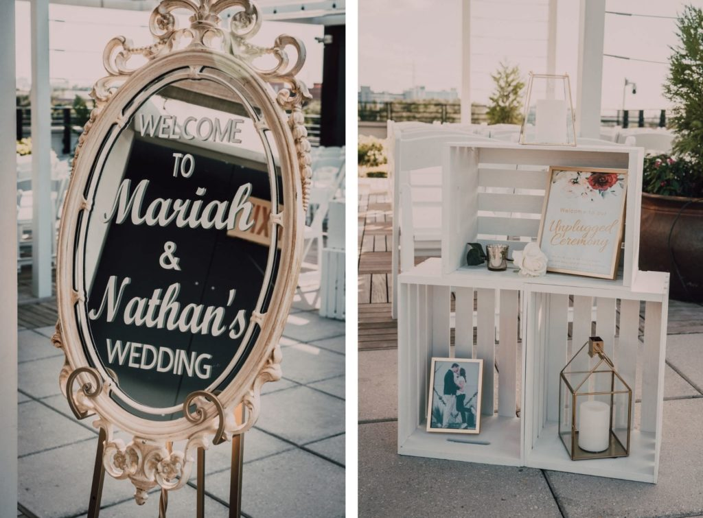 Wedding Welcome Sign Mirror and White Crate Ceremony Display with Framed engagement Photos and Gold Geometric Lanterns | UNIQUE Weddings + Events