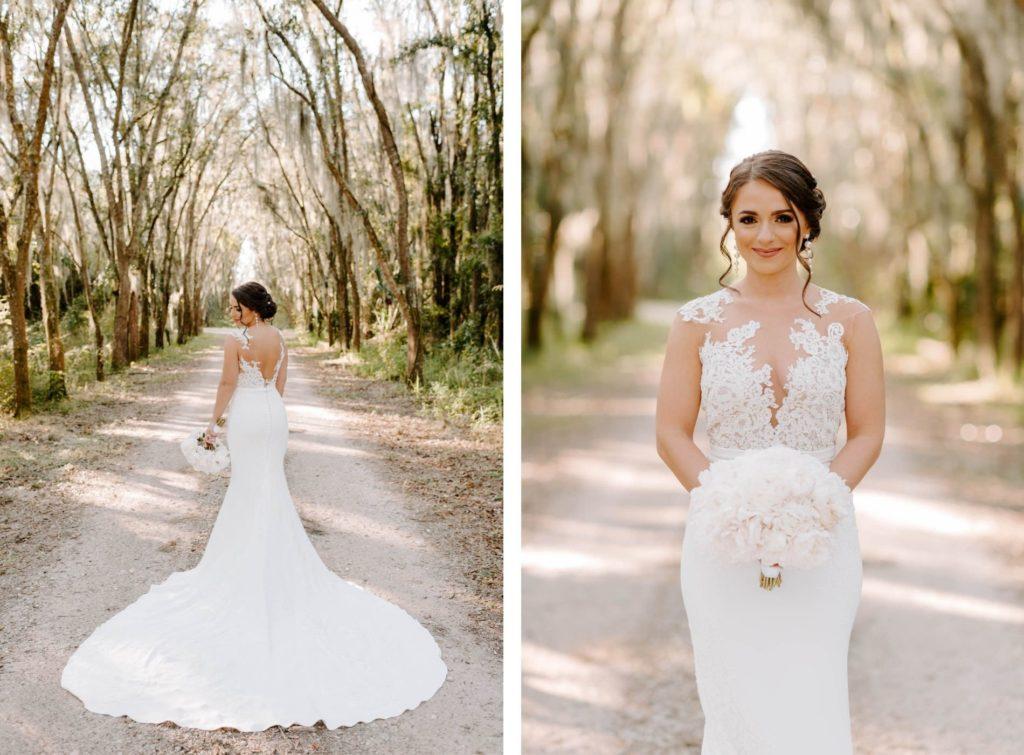 Outdoor Bridal Portrait | Illusion Lace Bodice Sheath Bridal Gown Wedding Dress | White Peony Bride Bouquet | Femme Akoi Beauty Studio Bridal Hair