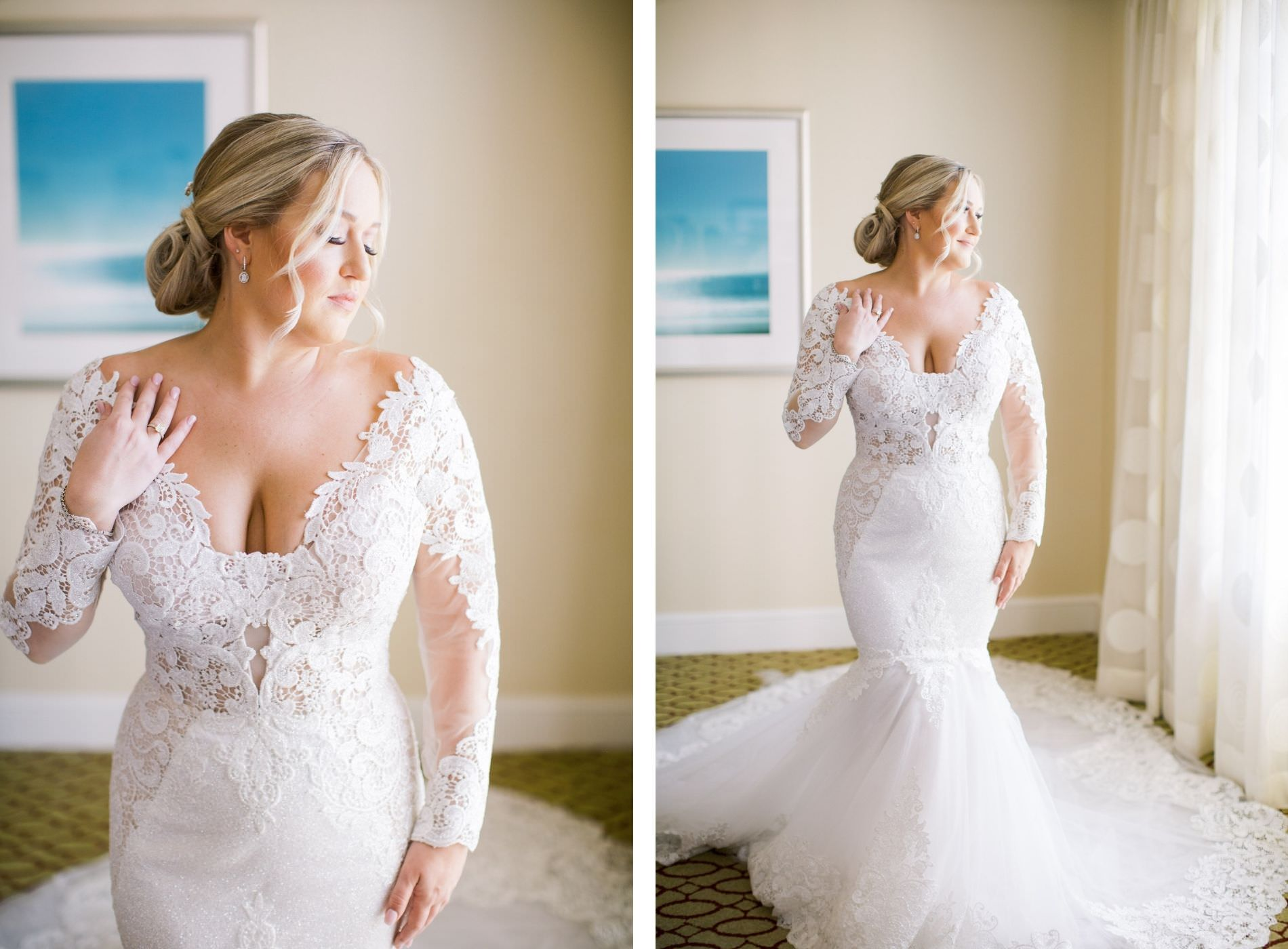 Bride Wearing Lace and Illusion Long Sleeve Plunging Neckline Wedding Dress Beauty Portrait