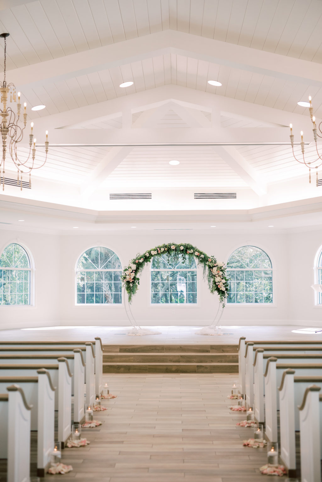 Timeless Romantic Wedding Ceremony Decor, Round Arch with Greenery and Ivory, Blush Florals | Safety Harbor Wedding Traditional Ceremony Venue Harborside Chapel | Wedding Planner Special Moments Event Planning