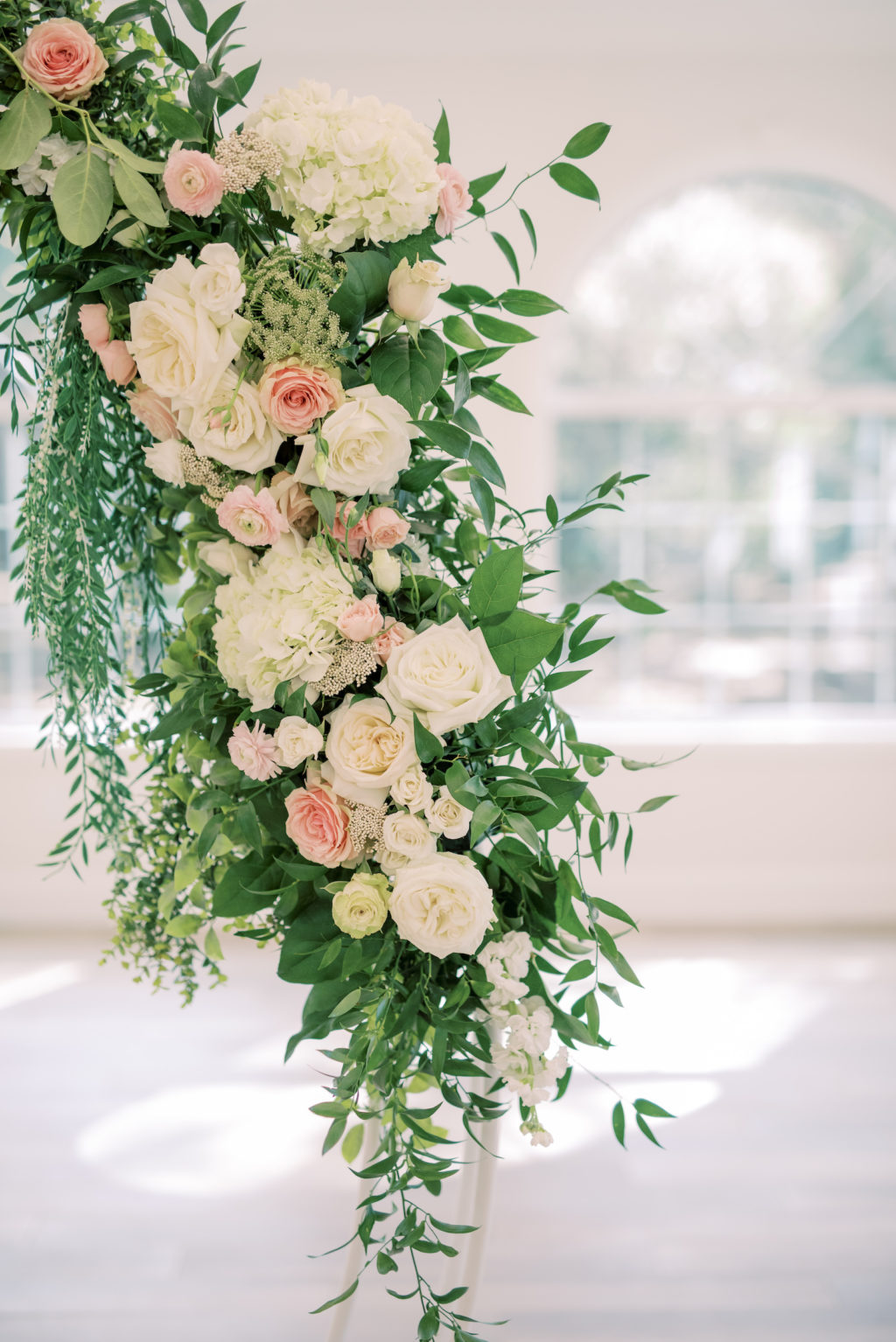 Timeless Romantic Wedding Ceremony Decor, Round Arch with Greenery and Ivory, Blush Florals | Wedding Planner Special Moments Event Planning