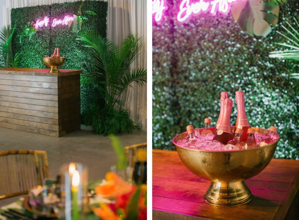 Greenery Boxwood Bar Backdrop with Neon Happily Ever After Sign Tropical Destination Beach Wedding Inspiration   Bellwether Beach Resort Styled with Love by Marry Me Tampa Bay