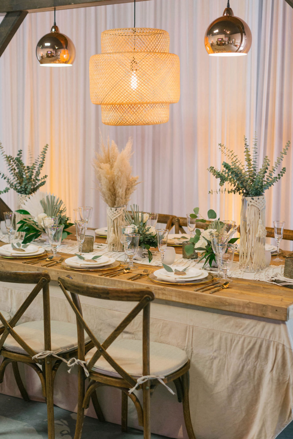 Boho Pampas Grass and Eucalyptus Greenery Centerpieces | Styled With Love at St. Pete Beach Wedding Venue Bellwether Beach Resort