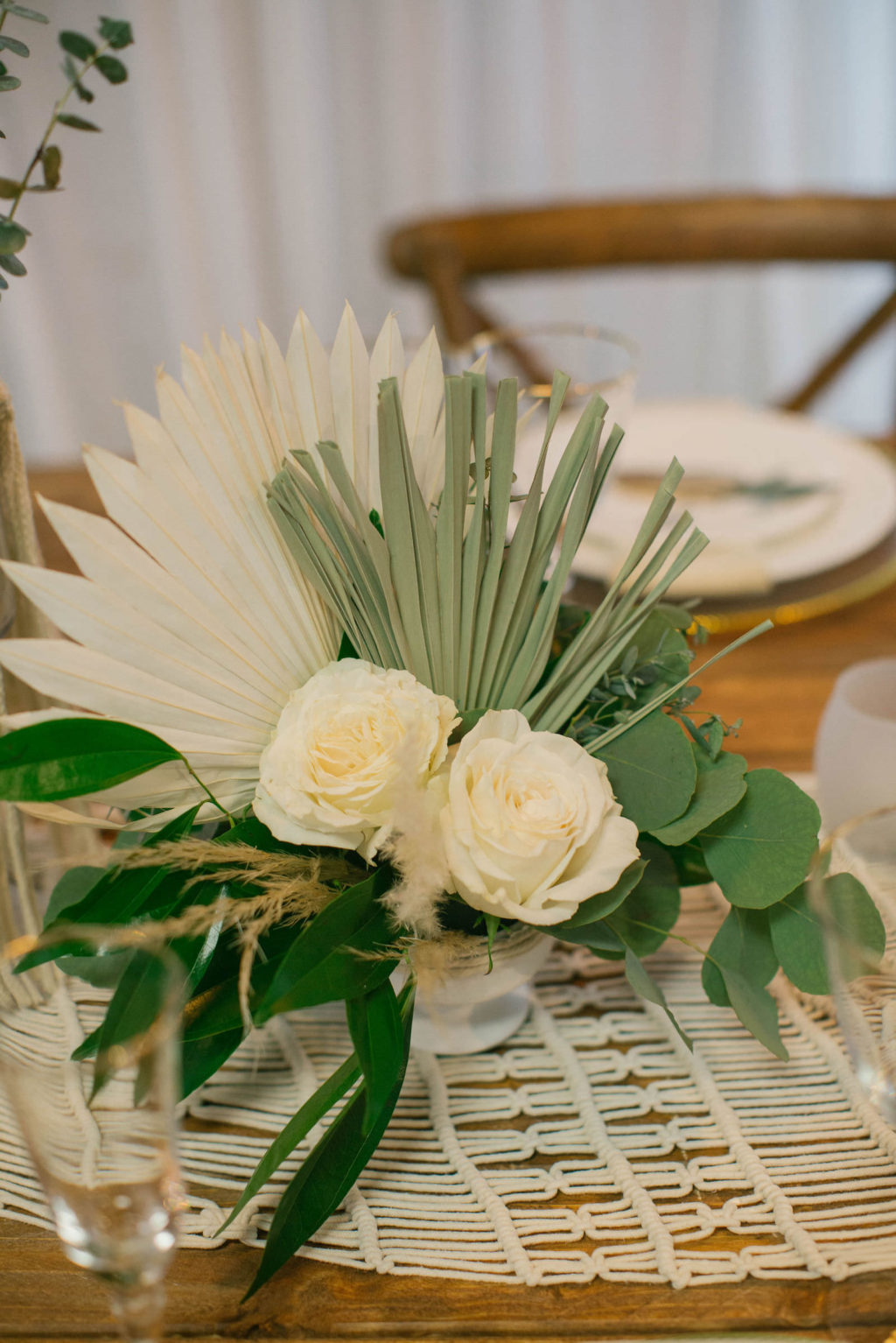 Boho Eucalyptus Greenery and White Ivory Rose Centerpieces with Macrame Table Runner | Styled With Love at St. Pete Beach Wedding Venue Bellwether Beach Resort