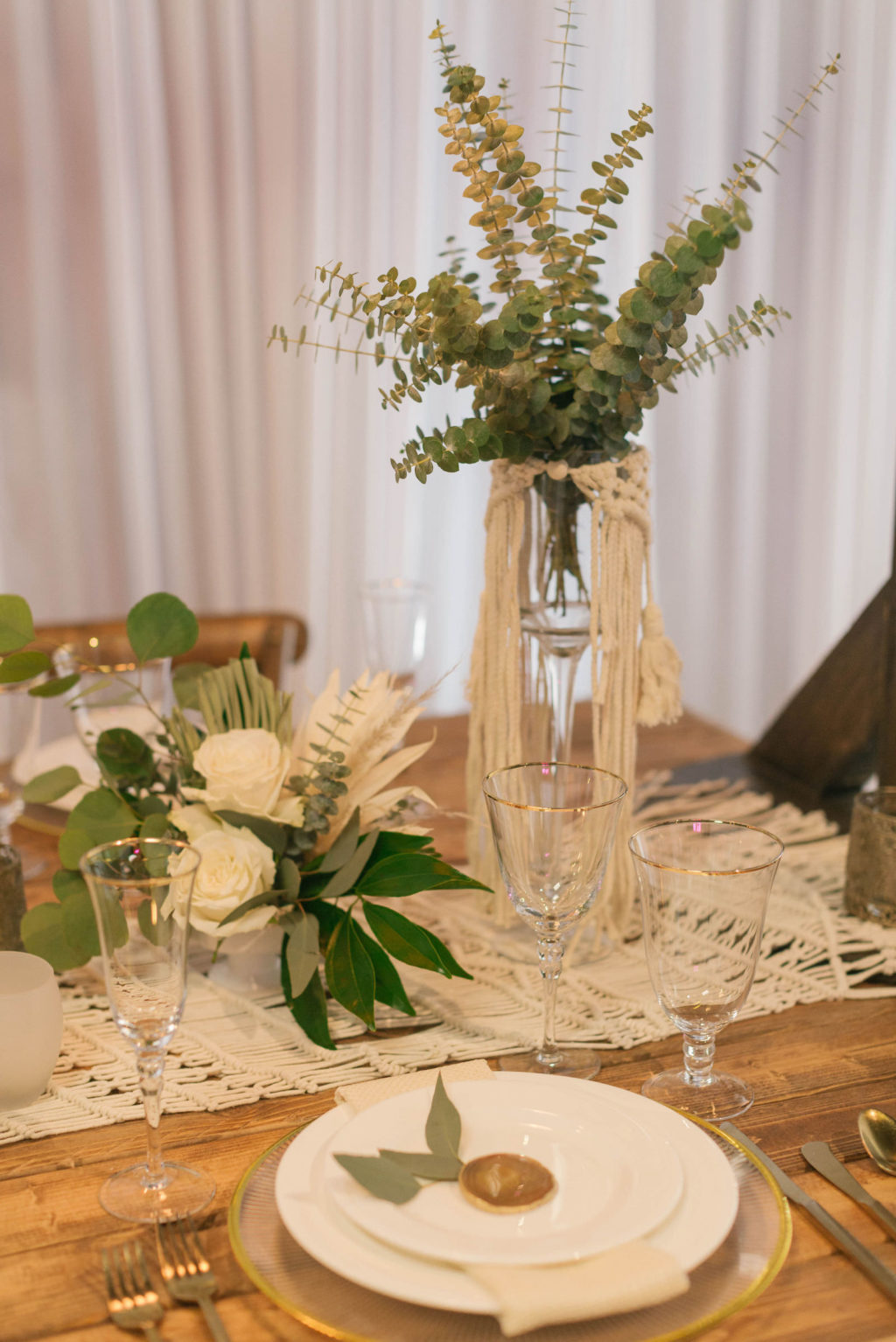 Boho Eucalyptus Greenery Centerpieces with Macrame Table Runner | Reception Decor Ideas and Inspiration | Styled With Love at St. Pete Beach Wedding Venue Bellwether Beach Resort
