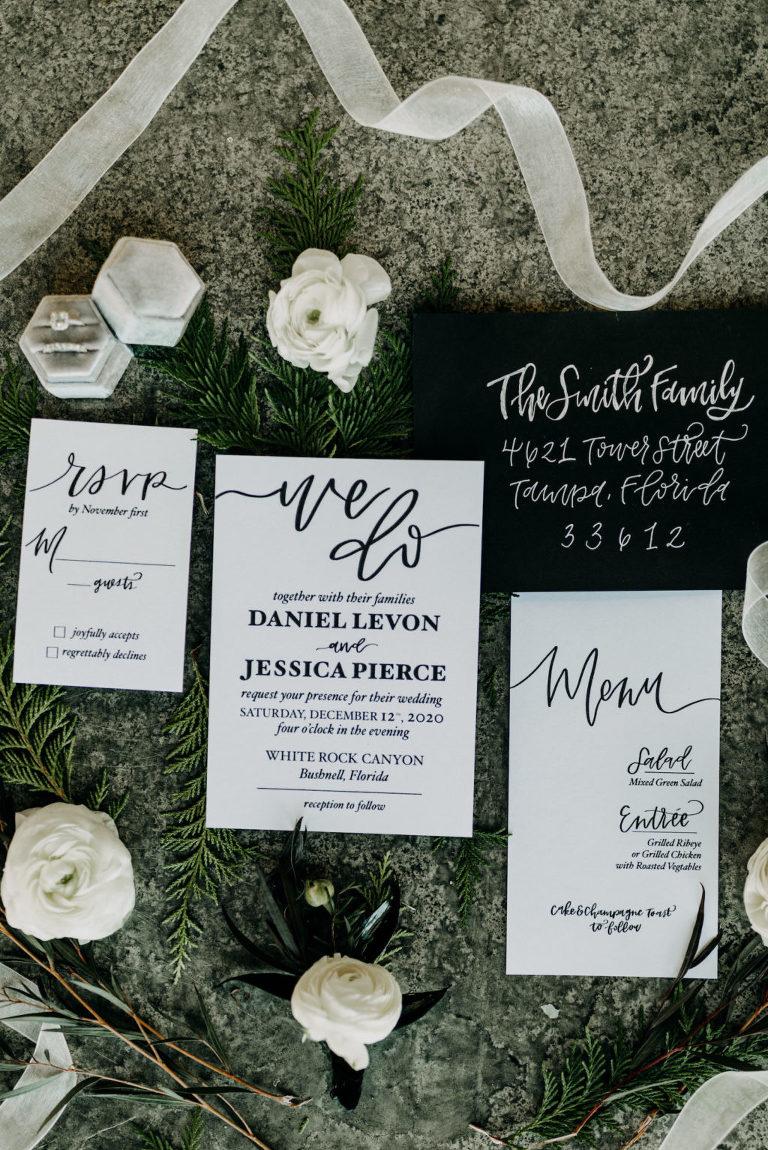 Black and White Florida Winter Wedding Invitation Suite Stationery Set Flat Lay | Amber McWhorter Photography