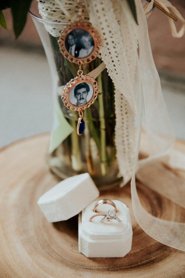 Wedding Bouquet Memory Locket Photo | Ivory Velvet Ring Box with Rose Gold Wedding Band and Diamond Engagement Ring