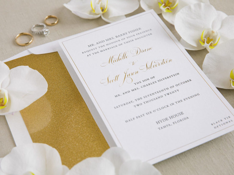 Timeless Classic White and Gold Wedding Invitation, White Orchid Flower Petals