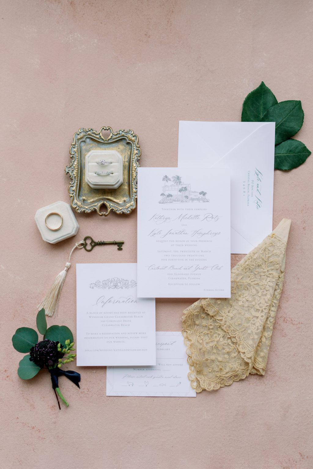 Classic White Simple Wedding Invitation Suite Flat Lay