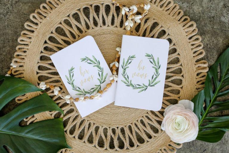 Vintage Hawaiian Wedding, Puka Shell Garland, His and Hers Vows Books | Tampa Bay Wedding Photographer Lifelong Photography Studio