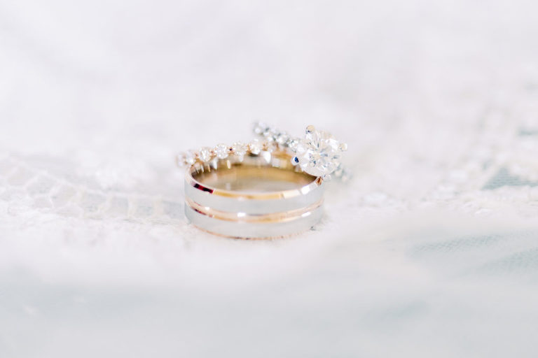 Gray and Yellow Gold Groom Wedding Band, Round Solitaire Diamond Engagement Ring | Tampa Bay Wedding Photographer Kera Photography