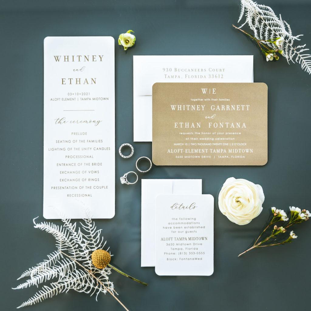 Organic Boho Modern White and Brown Wedding Invitation Suite