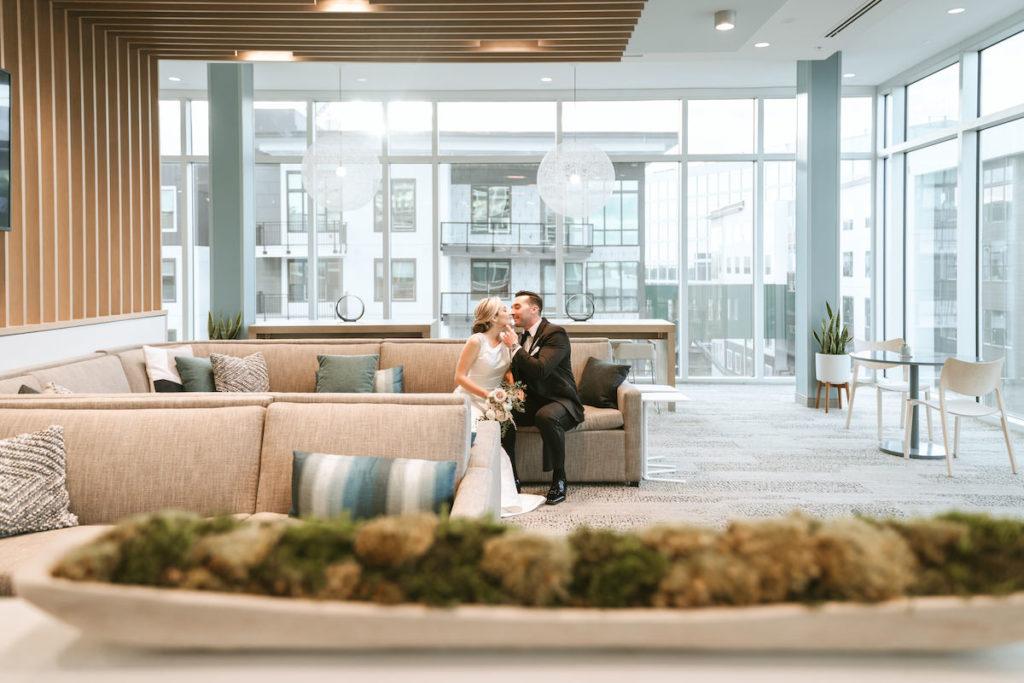 Bride and Groom Wedding Portrait | Modern South Tampa Wedding Venue Aloft Midtown | Wedding Photographer and Videographer Bonnie Newman Creative