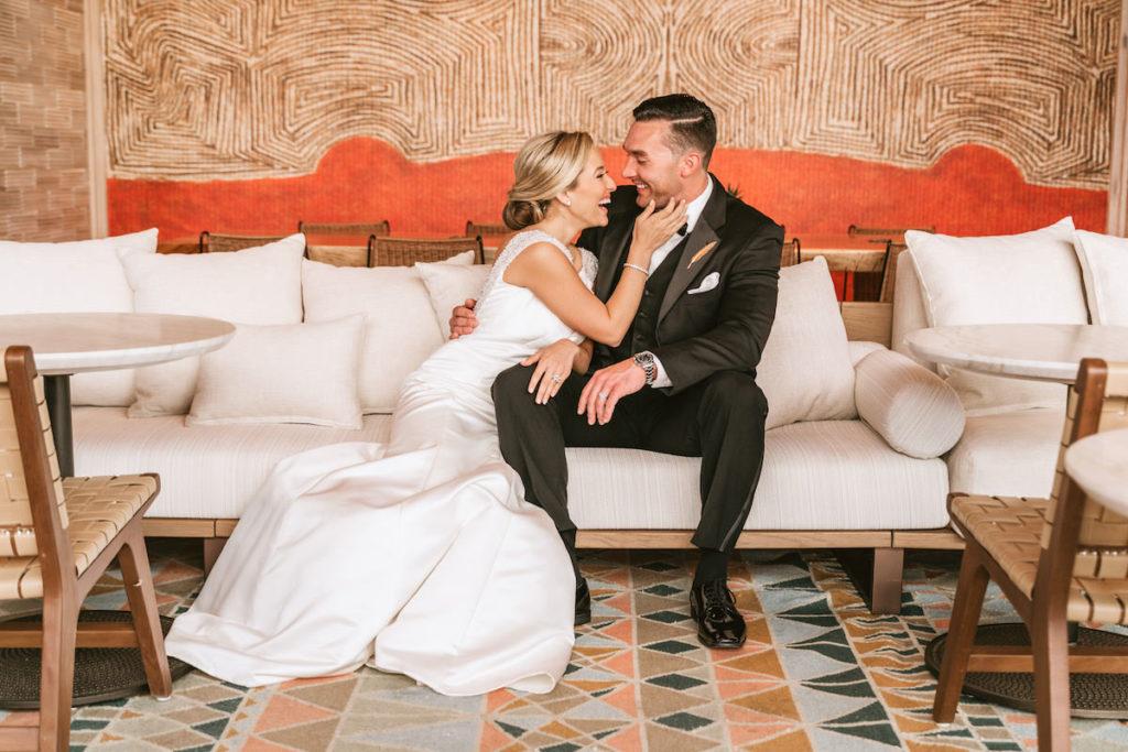 Bride and Groom Wedding Portrait | Modern South Tampa Wedding Venue Aloft Midtown Sal Y Mar | Wedding Photographer and Videographer Bonnie Newman Creative | Wedding Dress Truly Forever Bridal