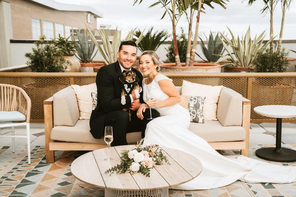 Bride and Groom Wedding Portrait | Modern South Tampa Wedding Venue Aloft Midtown Sal Y Mar | Wedding Photographer and Videographer Bonnie Newman Creative | Wedding Dress Truly Forever Bridal | Pet Planner Fairytail Pet Care