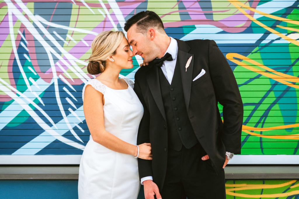 Bride and Groom Wedding Portrait | Modern South Tampa Wedding Venue Aloft Midtown Sal Y Mar | Wedding Photographer and Videographer Bonnie Newman Creative