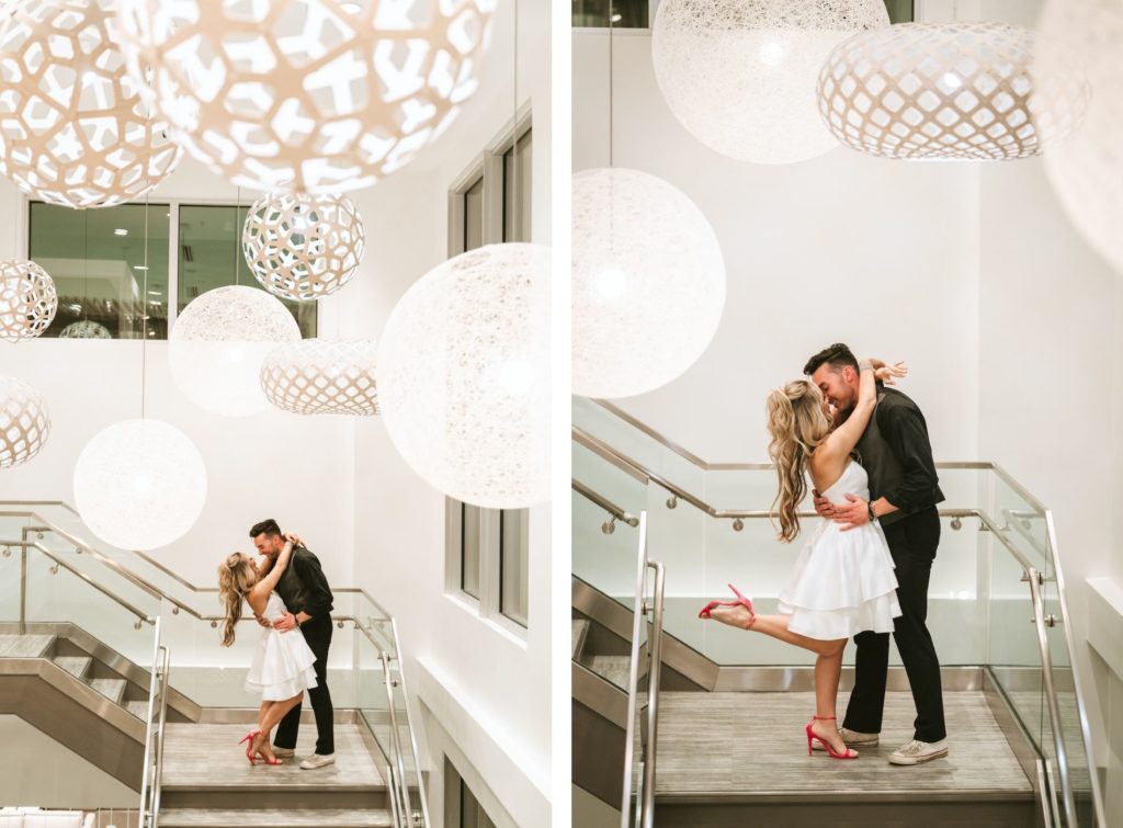Urban and Edgy Bride in Short Wedding Dress and Red Wedding Shoes and Groom on Stairs | Tampa Bay Wedding Photographer Bonnie Newman Creative | Wedding VenueAloft/ Element Midtown Tampa | Wedding Hair and Makeup Adore Bridal Services | Wedding Dress Truly Forever Bridal