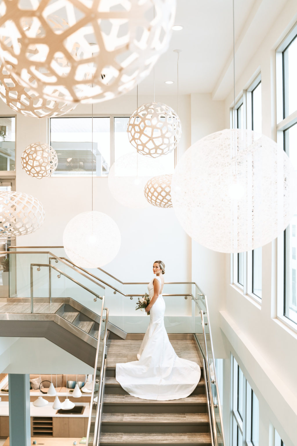Bridal Wedding Portrait on Staircase | Modern South Tampa Wedding Venue Aloft | Wedding Photographer and Videographer Bonnie Newman Creative | Wedding Dress Truly Forever Bridal