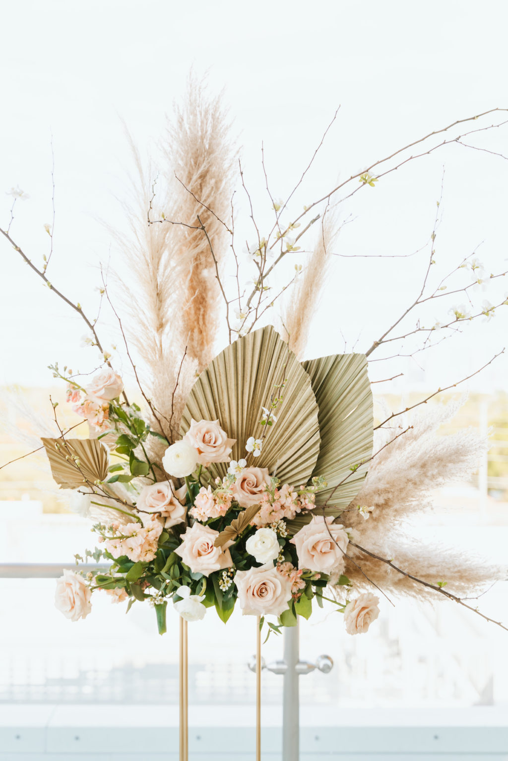 Organic Boho Modern White and Brown Wedding Ceremony Flowers with Peach Roses, Gold Leaves, and Feathers | Tampa Bay Wedding Florist Monarch Events