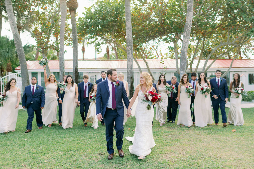 Florida Rustic Romantic Bride in Lace Beaded Wedding Dress and Groom in Blue Suit with Bridesmaids in Champagne Dresses and Groomsmen, Bridal Party   Tampa Bay Wedding Hair and Makeup Michele Renee the Studio   Bella Bridesmaids