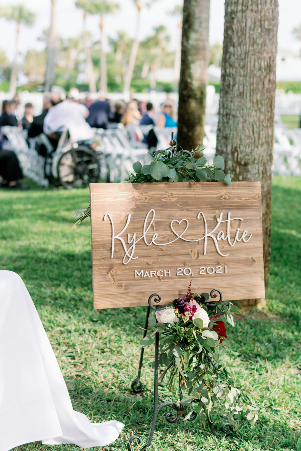 Rustic Romantic Wedding Ceremony Decor, Wooden Sign with White Laser Cut Personalized Signage