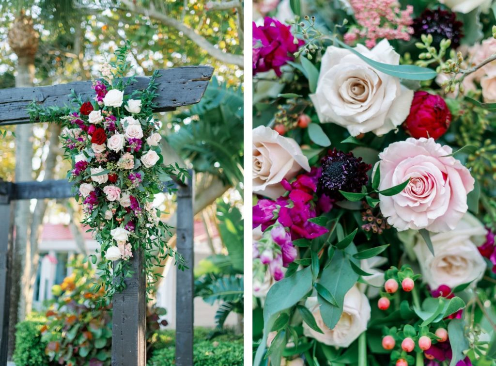 Rustic Romantic Wedding Ceremony Decor, Black Wooden Arch with Blush Pink, Ivory, Red and Purple Florals with Greenery and Berries
