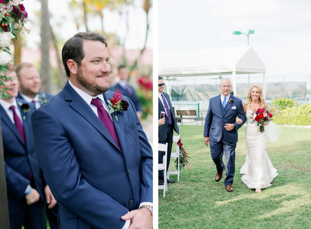 Florida Groom in Blue Suit with Unique Purple Floral Boutonniere, Reaction to Bride Walking with Father During Wedding Ceremony