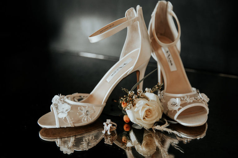 Nina Bridal Wedding Shoes with Embroidered Satin Flowers and Rhinestones